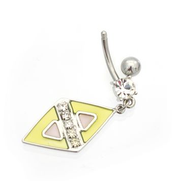 Luxe Modz Pastel Diamond Design Dangle Belly Button Ring 14ga Surgical Steel