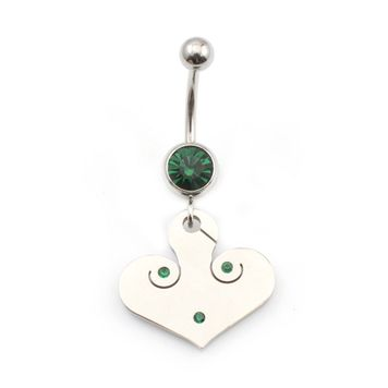 14 gauge Belly Button Ring Surgical Steel Dangling Design with Jewel