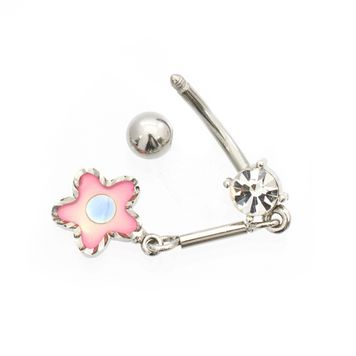 Luxe Modz Pastel Dangling Flower and Cubic Zirconia Jewel  Belly Button Ring 14ga Surgical Steel