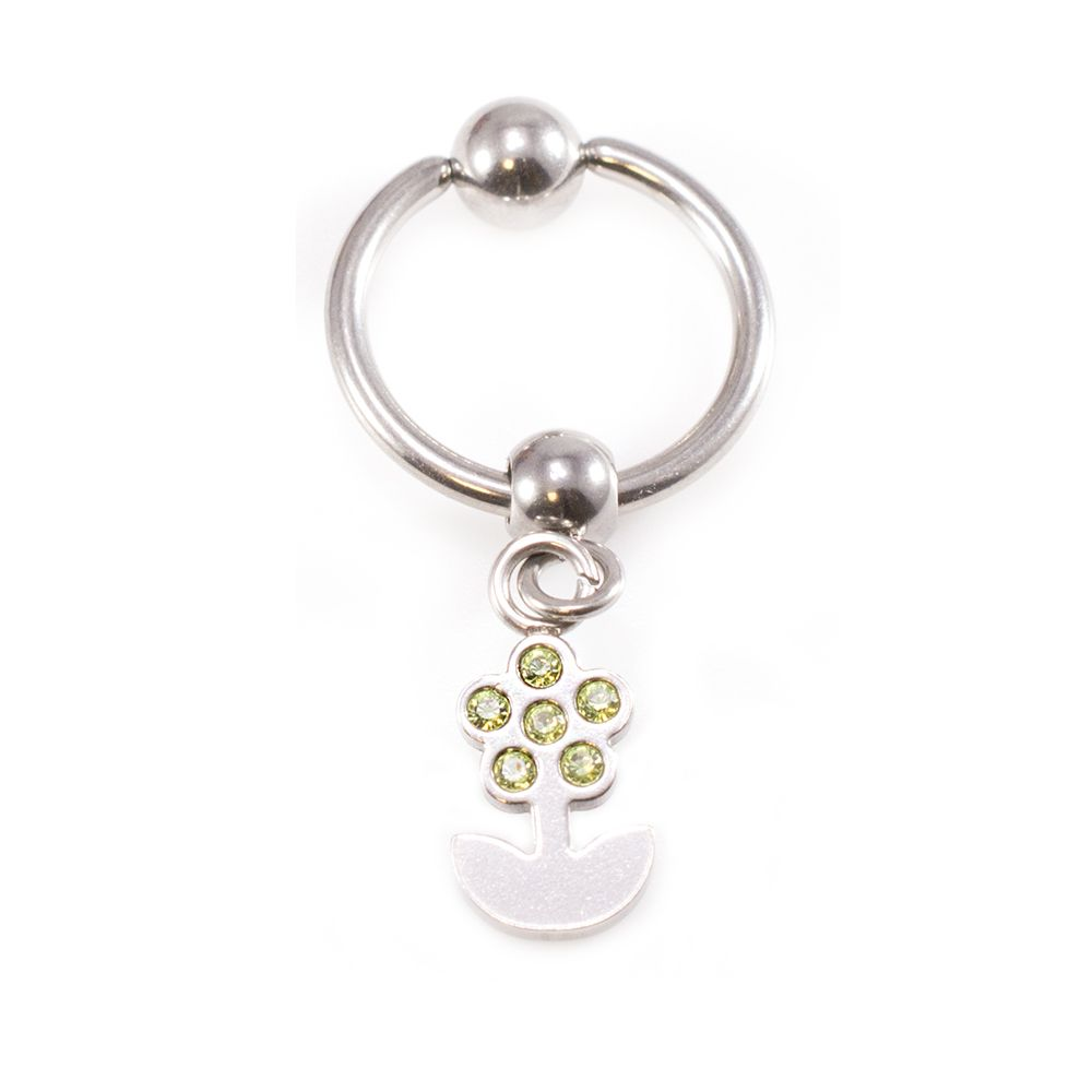 Captive Bead Belly Ring With Dangling Flower Body Jewelry
