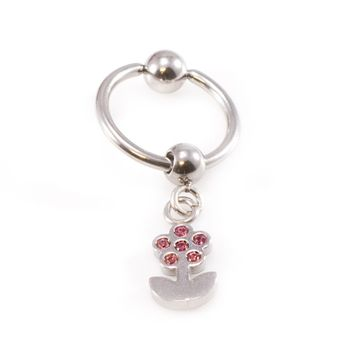 14 gauge Captive Bead Belly Ring with Dangling Flower
