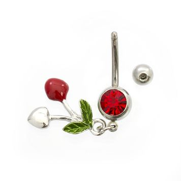 Cherry and Heart Design Belly Button Ring CZ 14ga Surgical Steel