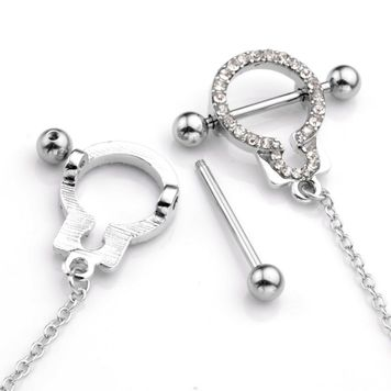 Nipple Shields with Cubic Zirconia  Handcuff Design with Connecting Chain
