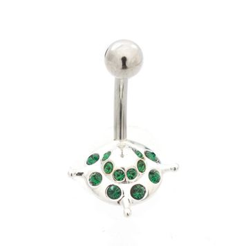 UFO Design Belly Button  Ring with CZ  Jewels 14ga- Surgical Steel