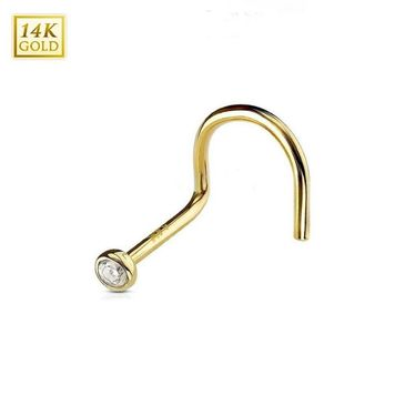 14 Karat Solid Gold Nose Screw Ring with Bezel Set Clear 2mm Cubic Zirconia 20ga 18ga 1/4-6mm Sold Each