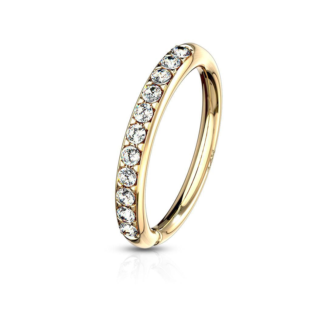 14 Kt Gold Cz Paved Half Circle Bendable Hoop Rings For Ear