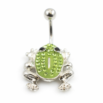 Frog CZ Body Design Belly Button Ring 14ga