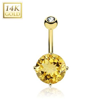 "14ga-3/8""(10mm) 14Kt Solid Gold Belly Ring with Citrine Gem Stone"