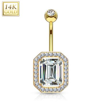 "14Kt Solid Princess Cut CZ Pronged Multi Paved Gems Around Belly Button Ring 14ga-3/8""(10mm)"