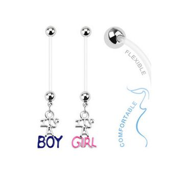 14ga Baby Gender Dangle Bioflex Pregnancy Navel Ring