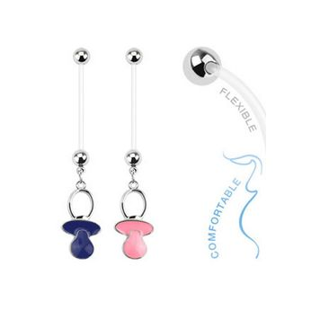 14ga Baby Pacifier Dangle Bioflex Pregnancy Navel Ring