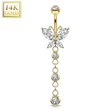 14K Gold Navel Ring Butterfly Marquise CZ w/ Triple CZ Dangle Solid Gold 14ga