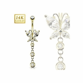 14K Gold Navel Ring Butterfly Marquise CZ w/ Triple CZ Dangle- Solid Yellow Gold