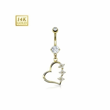 14K Gold Navel Ring - Triple CZ Flower Heart Dangle Solid Yellow Gold