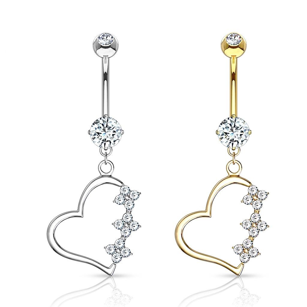 Belly Button Ring Navel Triple Heart Body Jewelry Dangle ...