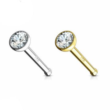 14k Solid Gold Nose Stud with 2mm Press Fit Bezel Set Clear CZ Jewel 20ga 18ga Sold Each