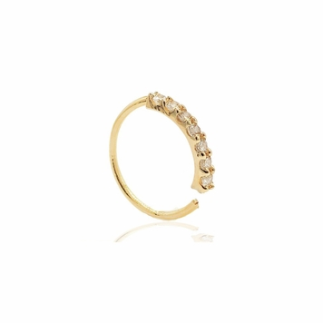 Solid Gold Hoops Piercing 14 Karat with 7 Prong 1.5mm SI1 Diamond