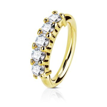 14Kt. Gold Five CZ Set Open Hoop Rings for Nose, Ear Cartilage and Lip Piercings