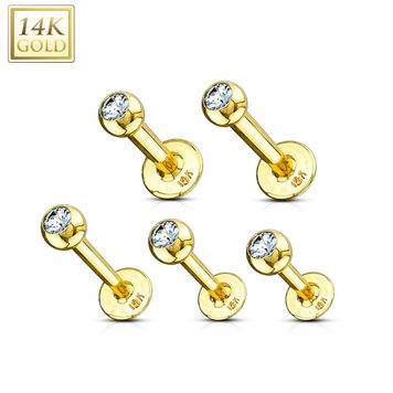 14kt Solid Gold Labret  Monroe with Clear  Cubic Zirconia Gem 16ga 14ga -Sold Each