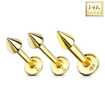 14kt Solid Gold Monroe Labret with Spike End 16ga 14ga -Sold Each