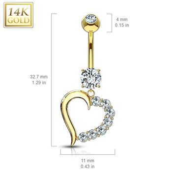 14Kt Solid Gold Clear CZ Journey Heart Navel Ring 14ga