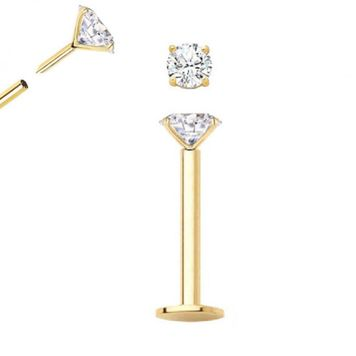14kt Yellow Gold Push Pop Threadless Labret with CZ 16ga 5/16 in -Sold Each