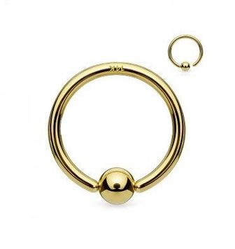 14Kt. Gold Fixed Ball Hoop Ring- Nose and Cartilage 18ga