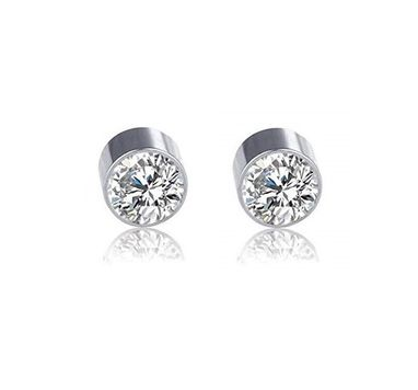 Pair of Steel with Double Side Press Fit Cubic Zirconia Magnetic Earrings 6mm