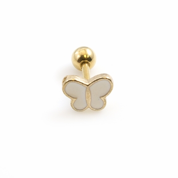 16ga Heart or Butterfly Cartilage Stud White Enamel Gold I.P. 316L Surgical Steel - Sold Each