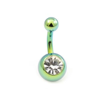 Anodized Titanium Short  Shaft Belly Button Ring with CZ 14ga 5/16