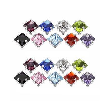 18pc Prong Set Square Gem Internally Threaded Dermal Tops