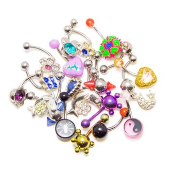 "12 Random Belly Rings- Dangle and Non-dangle Designs- Mix of 316L and Acrylic 14ga-7/16""(11MM)"