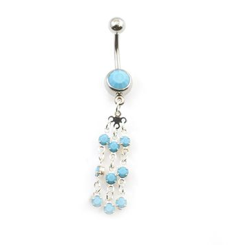 Turquoise Bead Dangle with Flower Cascade Belly Button Ring 14ga 316L