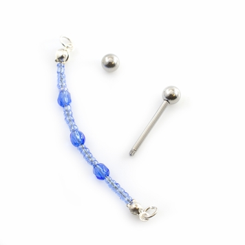 Pair of Nipple Barbells with Dangle Chain Bead Design 14G Surgical Steel