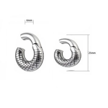 Hinged Clicker Stripe Engraved Segment Ring Surgical Steel 2ga - Sold Each