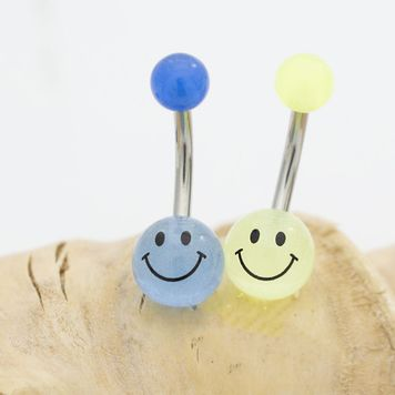 Pack of Two Glow in the Dark Smiley Face Belly Button Rings 14ga