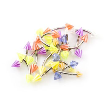 Pack of 20 Curved Barbells with Colorful  Bright Spike Ends 16ga- Randomly Picked