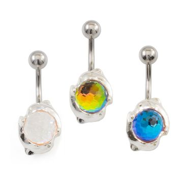 Coupled Dolphins and Disco Ball Belly Button Ring 14ga 316L