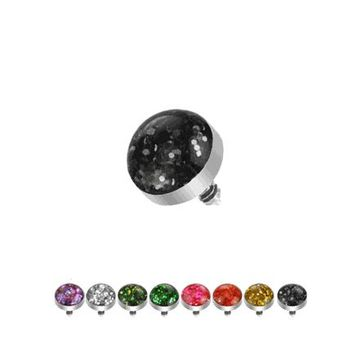 316L Surgical Steel Internally Threaded 4mm Glitter Dome Micro Dermal Top