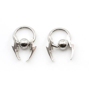 Pair of Captive Nipple Rings with Dangling Lightning Bolts Design 14g