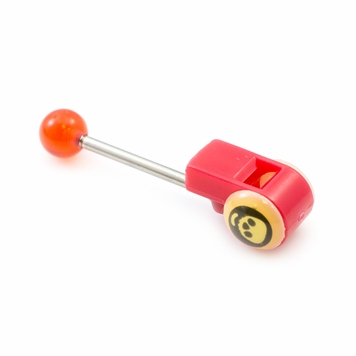 Colorful Acrylic Whistle and Skull Design Tongue Barbell 14ga