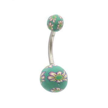 Pack of 6 Flower Painted Design Belly Button Rings 14ga Surgical Steel