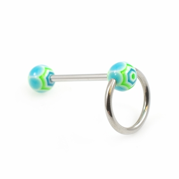 Acrylic Colorful Ball Door Knocker Design Tongue Barbell 14G
