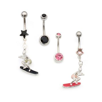 Pack of Two Belly Rings- Surfer Cubic Zirconia Star Design and Double CZ 14ga Surgical Steel