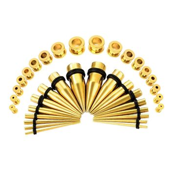 36 Pieces Ear Stretching Kit - Surgical Steel Tapers & Screw Fit Tunnel Plugs
