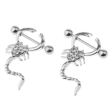 Pair of Scorpion Design CZ Nipple Shields 14ga 16ga