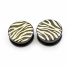Pair of  Acrylic Zebra Print Black and Yellow  Ear Plugs Screw-Fit