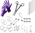 LionGothic Professional Piercing Kit 38 Pieces