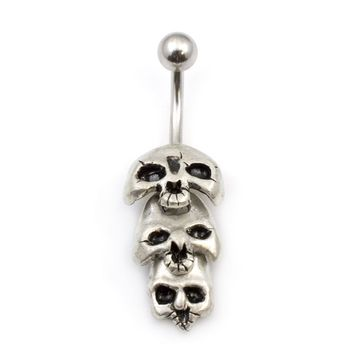 Three Skull Dangle Belly Button Ring 14g