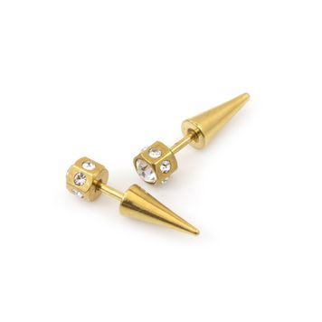 Pair of Faux Screw-On Anodized CZ Tapers 16ga